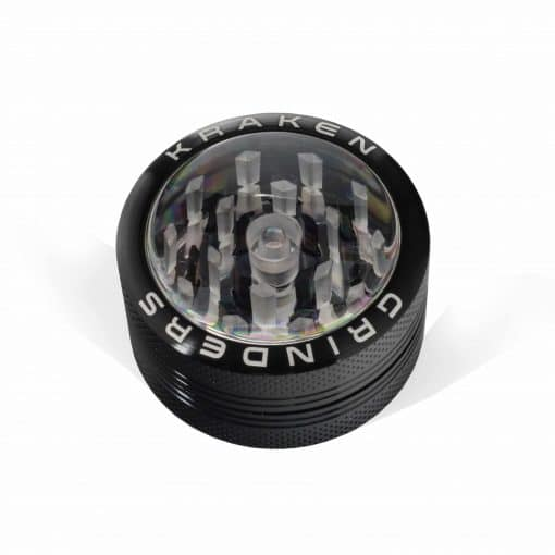 """Cannabox Kraken 1.5"""" 2-part Grinder with Clear Top and Push-up Bottom"""