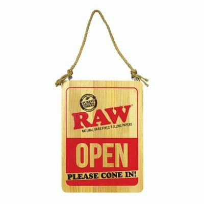 Raw Door Sign Open